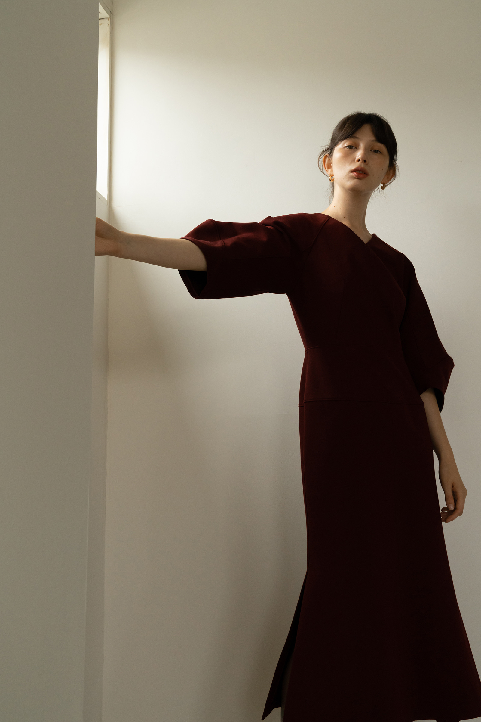 ROWE Volume sleeved Dress_Burgundy