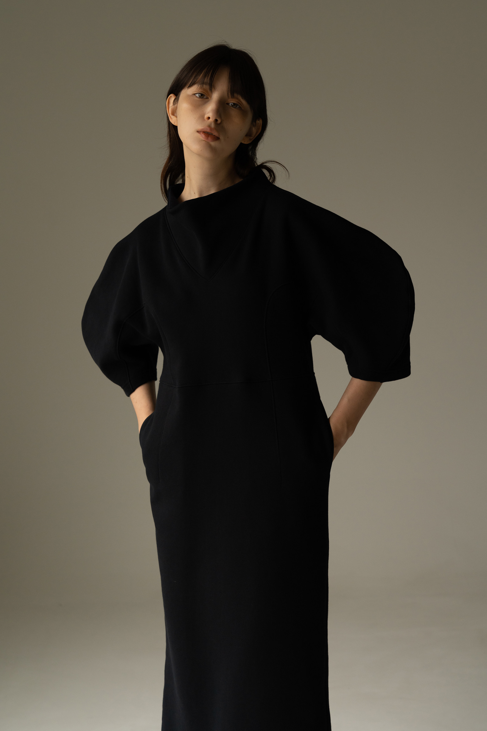 ROWE comfortable Dress _Dark navy / white