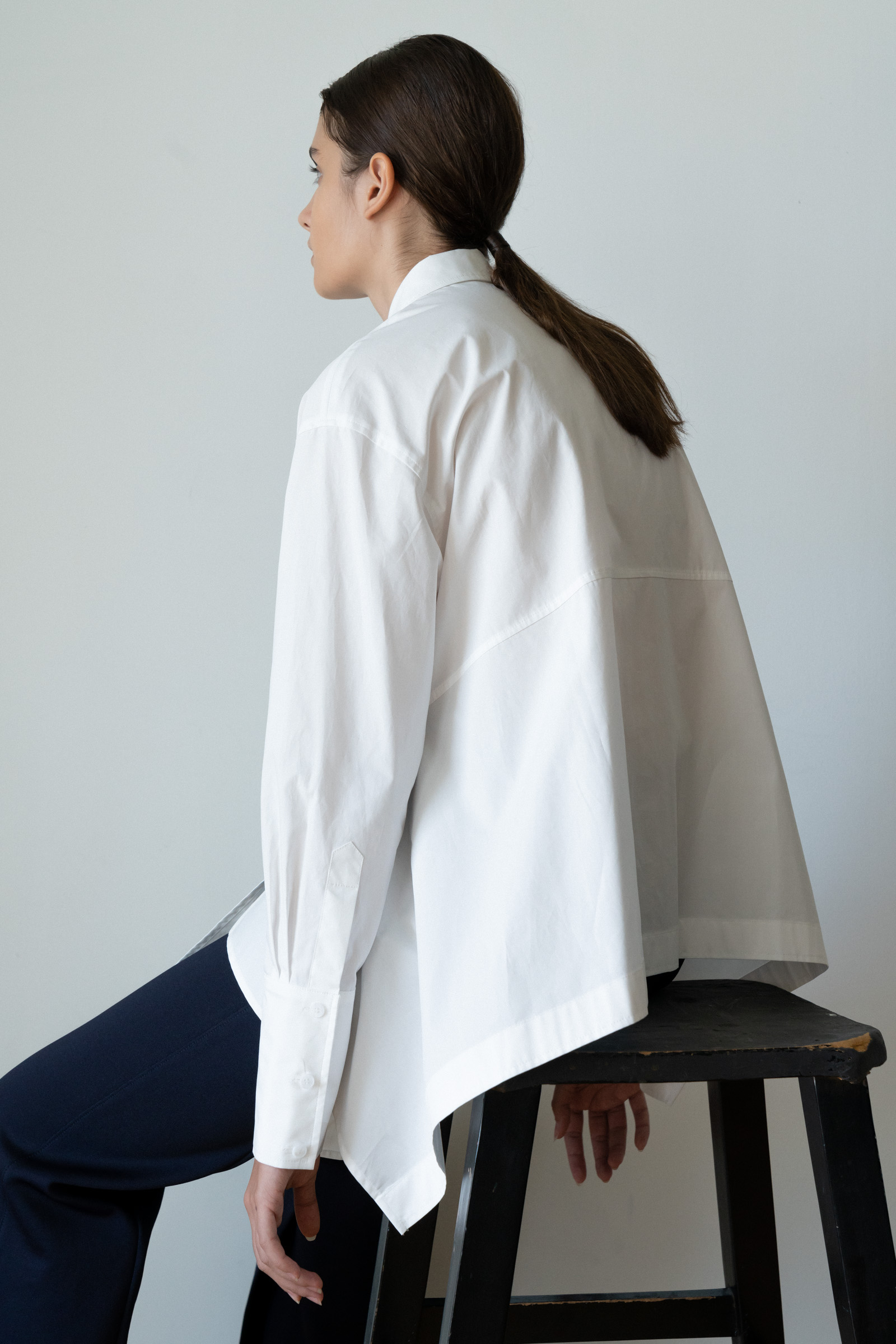ROWE Back peplum Shirt _White