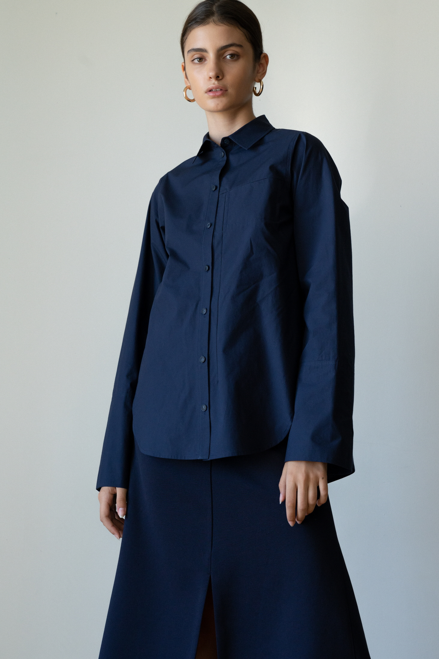 ROWE Deep slit Shirt _D/navy