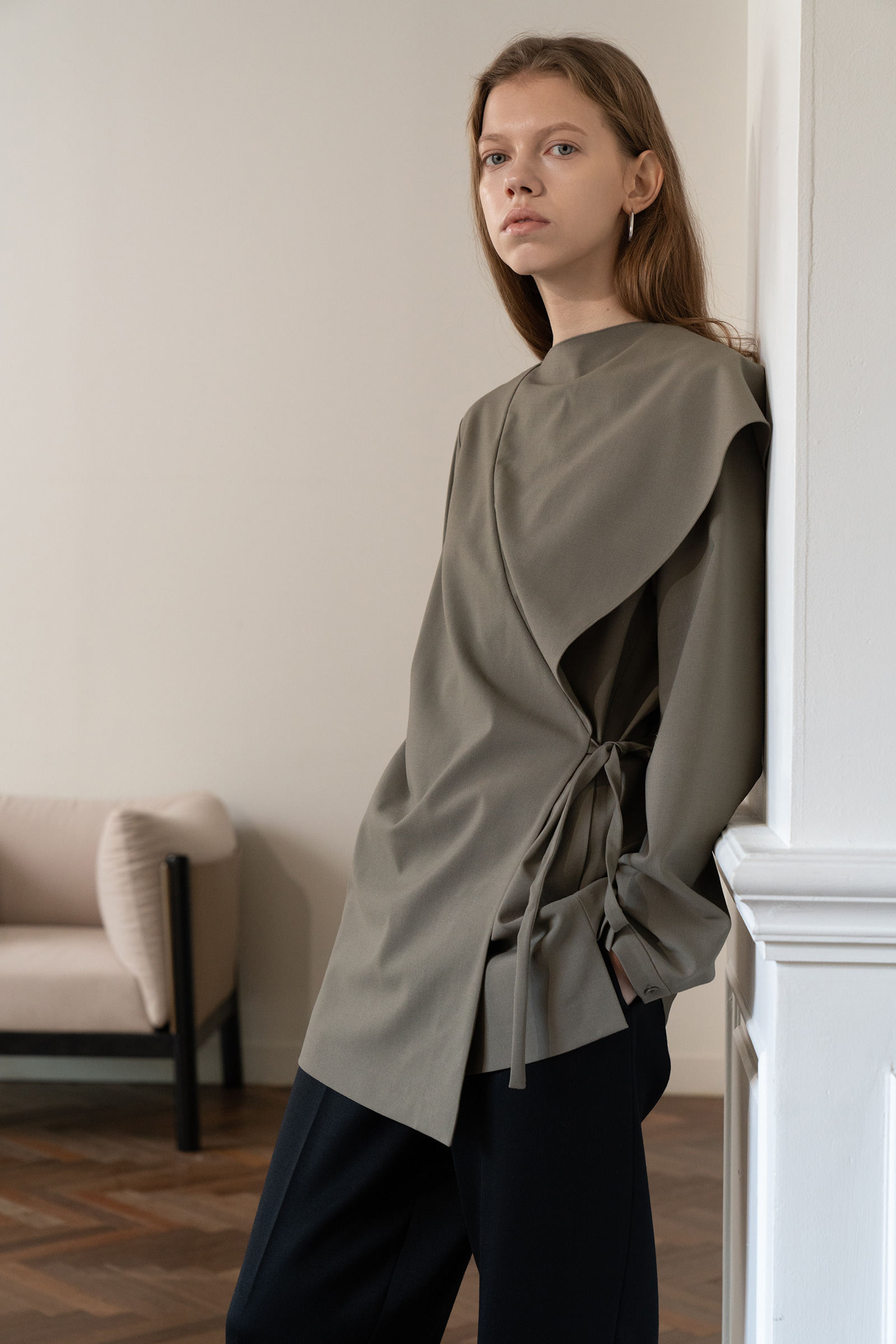3 in1 Wrap Blouse  _Khaki