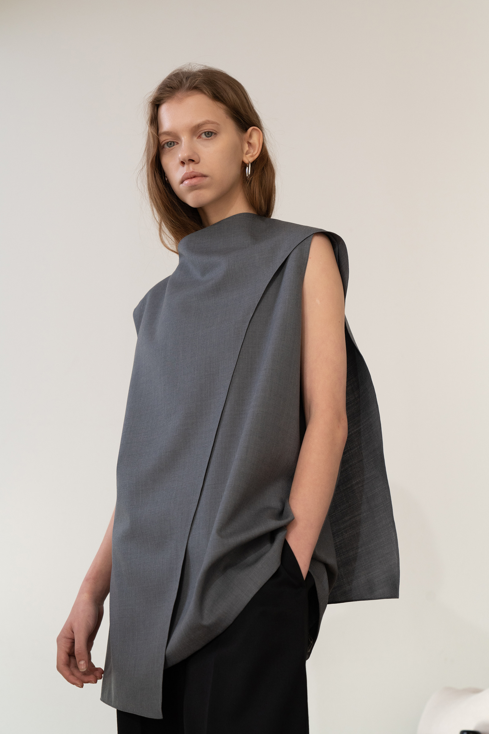 Cape Blouse _Grey