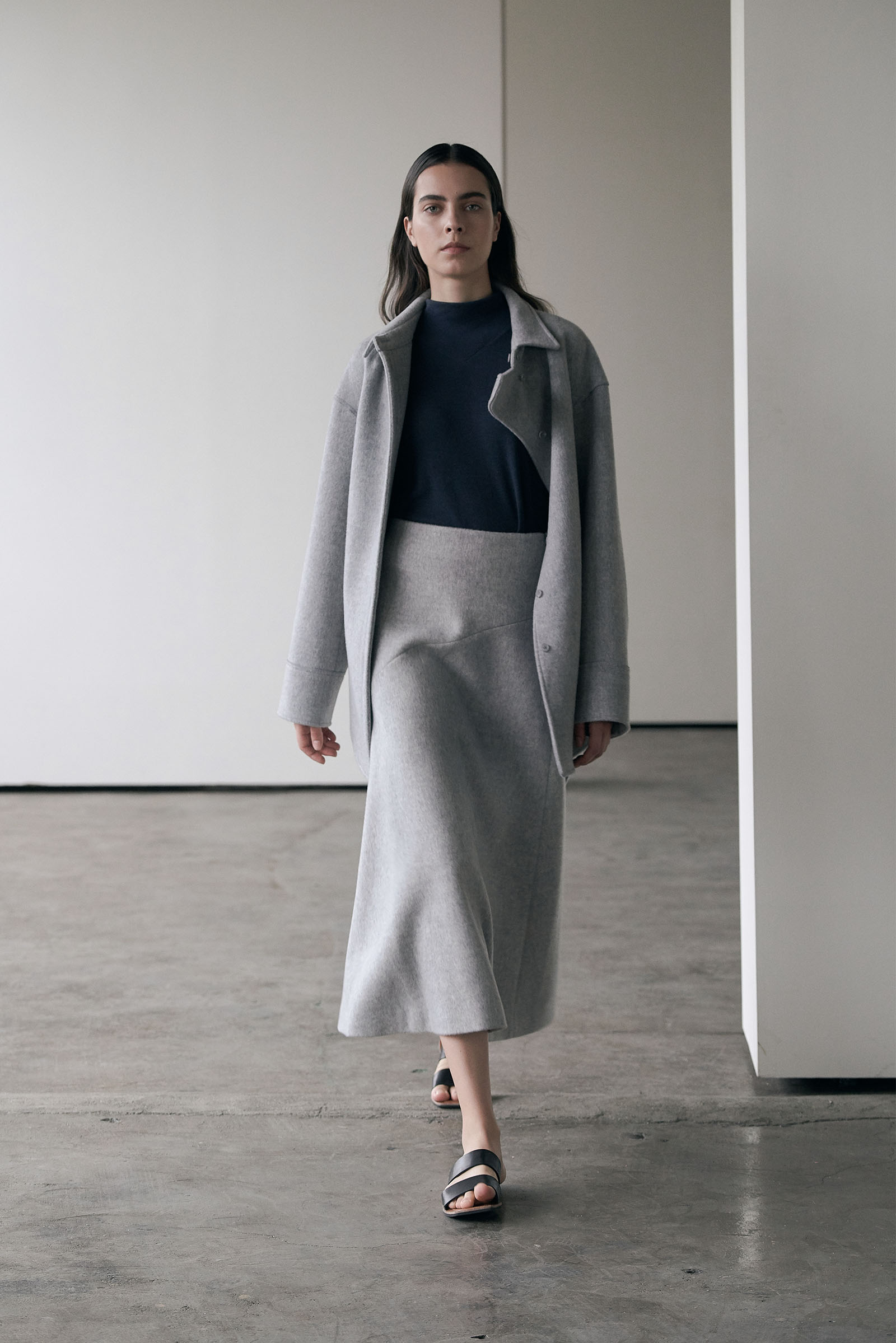 W/ Cashmere Skirt (Regular fit) _Melange grey