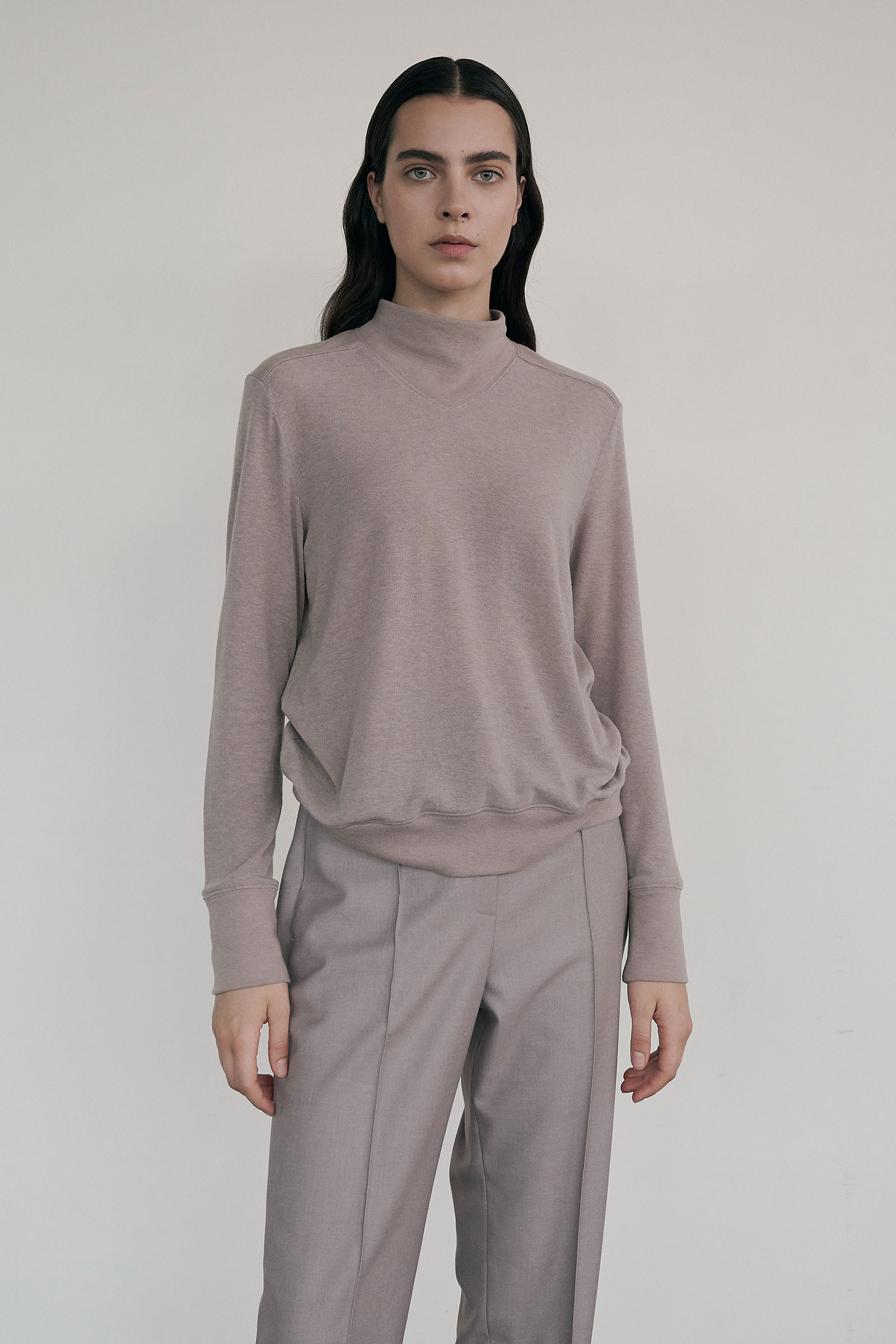 Half-turtleneck Rib pullover (Regular fit) _Pale pink