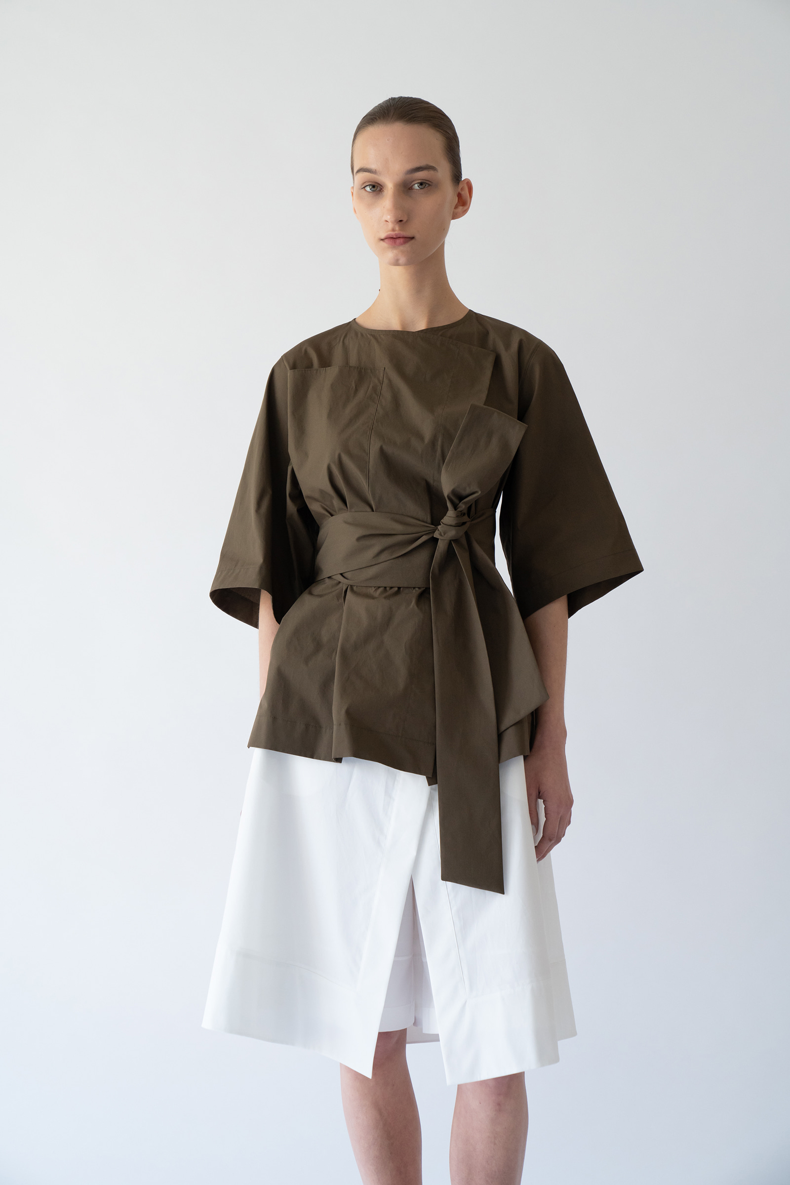 [Prestige] Belted summer outer _Khaki brown
