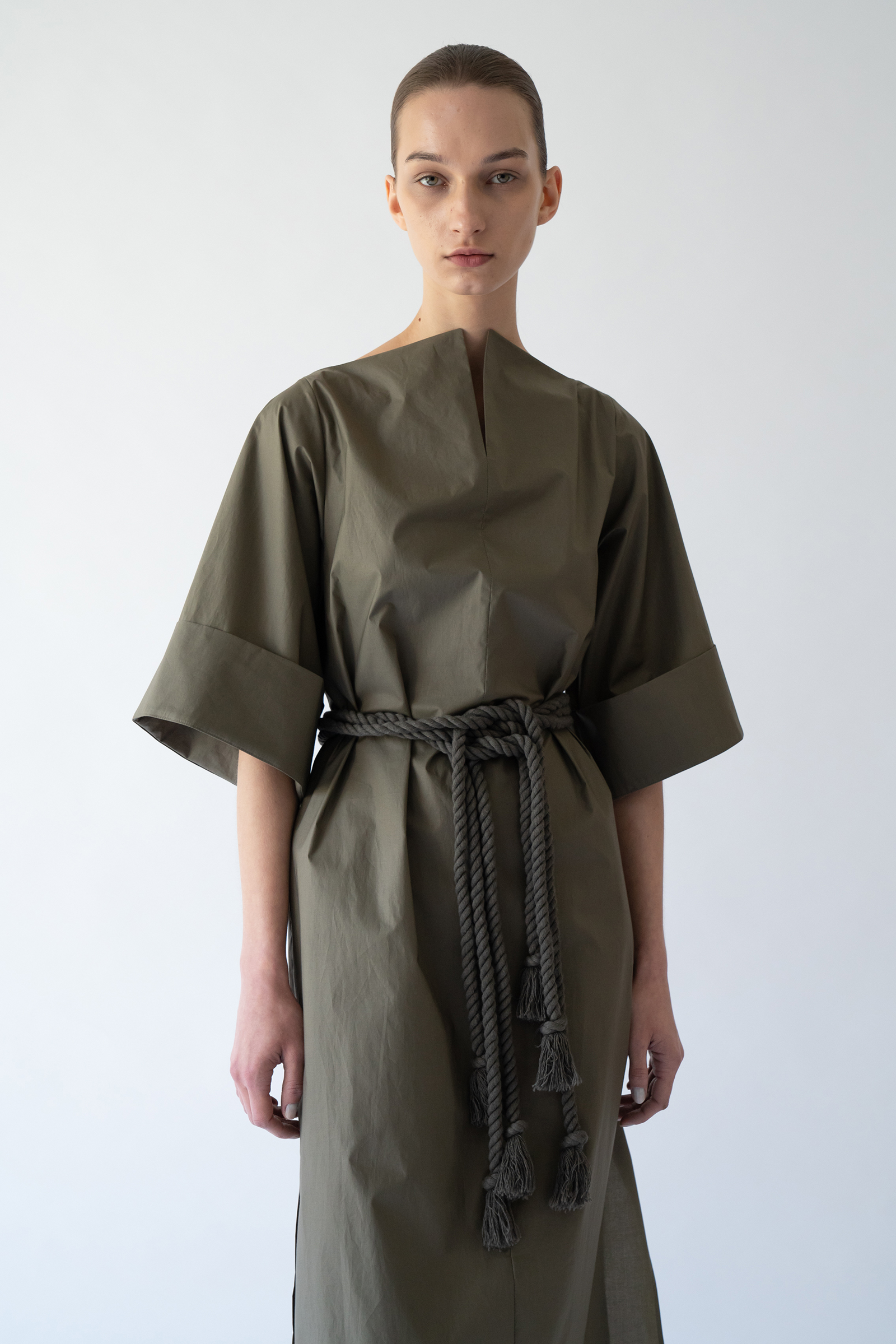 [Prestige] Structural  long Dress _khaki