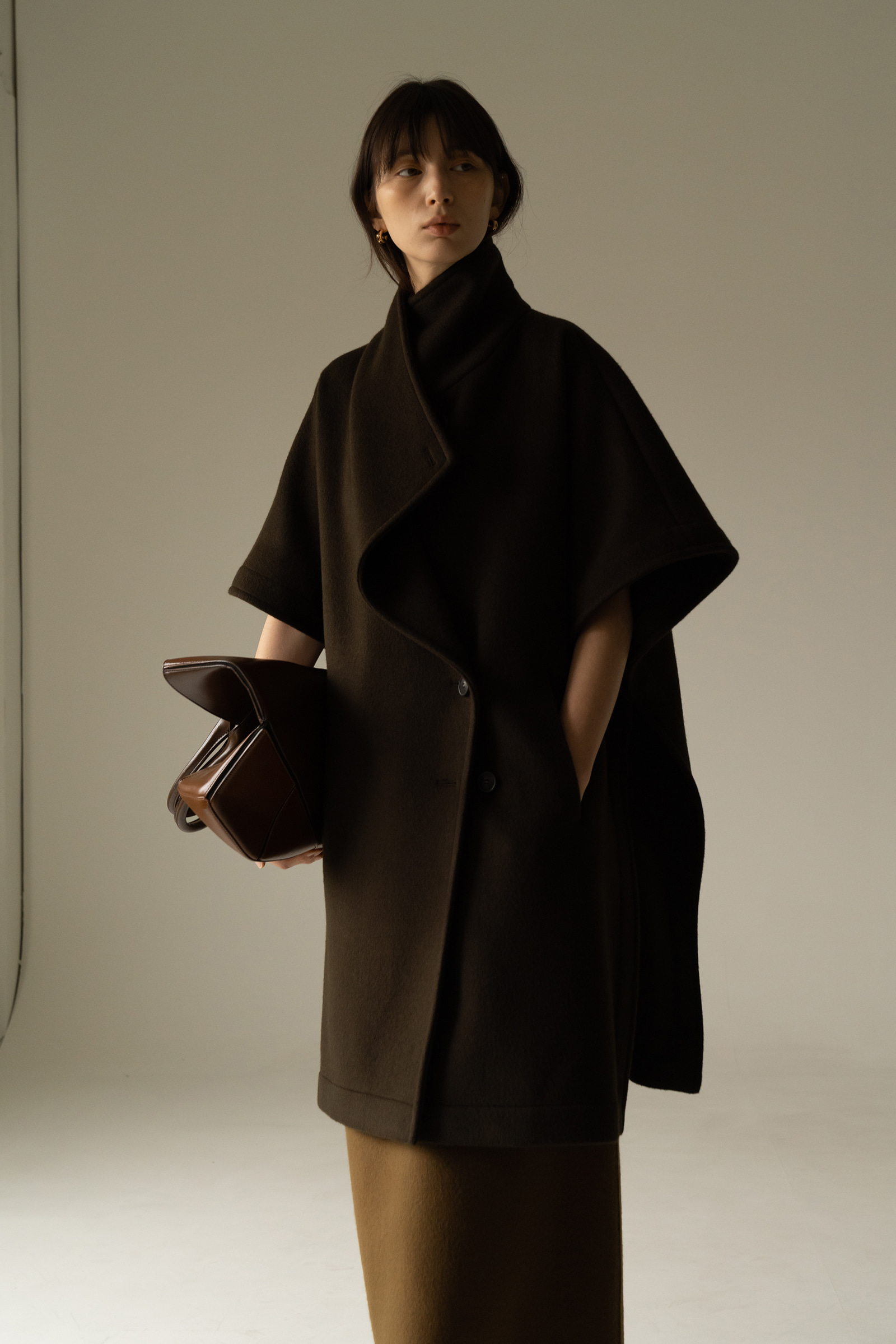 ROWE Prima wool cape Coat_Muted Khaki